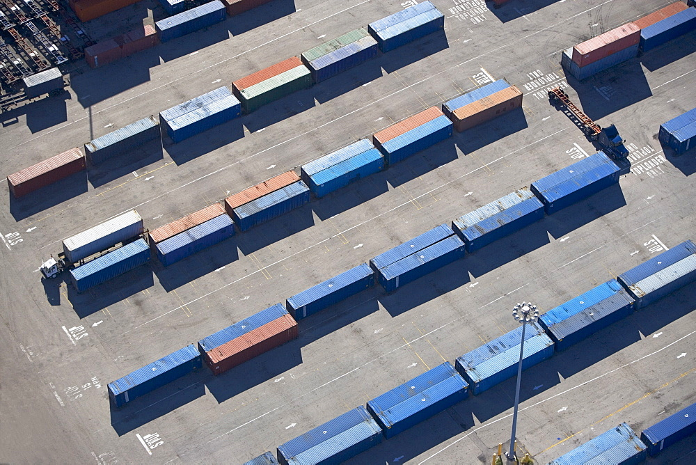 Aerial view of shipping container