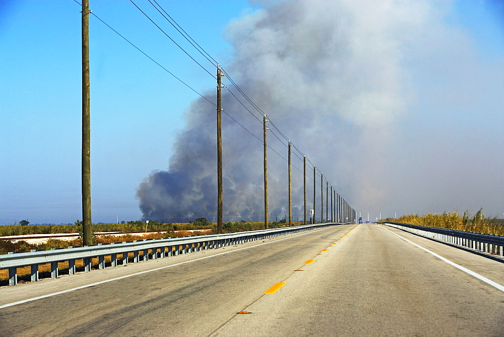 Highway and smoke in distance