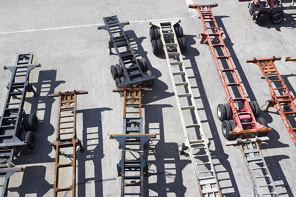 High angle view of truck undercarriages