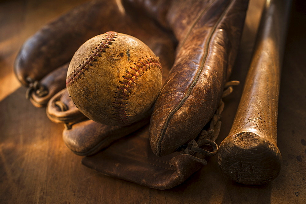Antique baseball, glove and bat