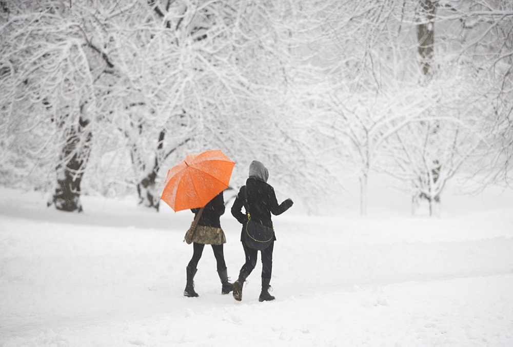 Two girls walking through snowy park