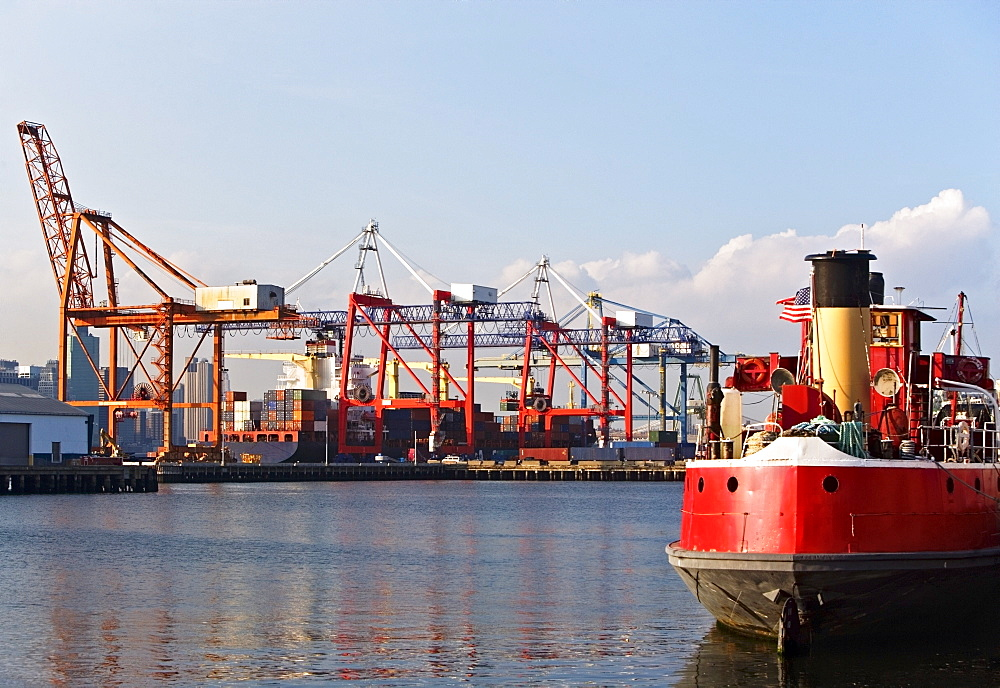 Cargo ships and container crane