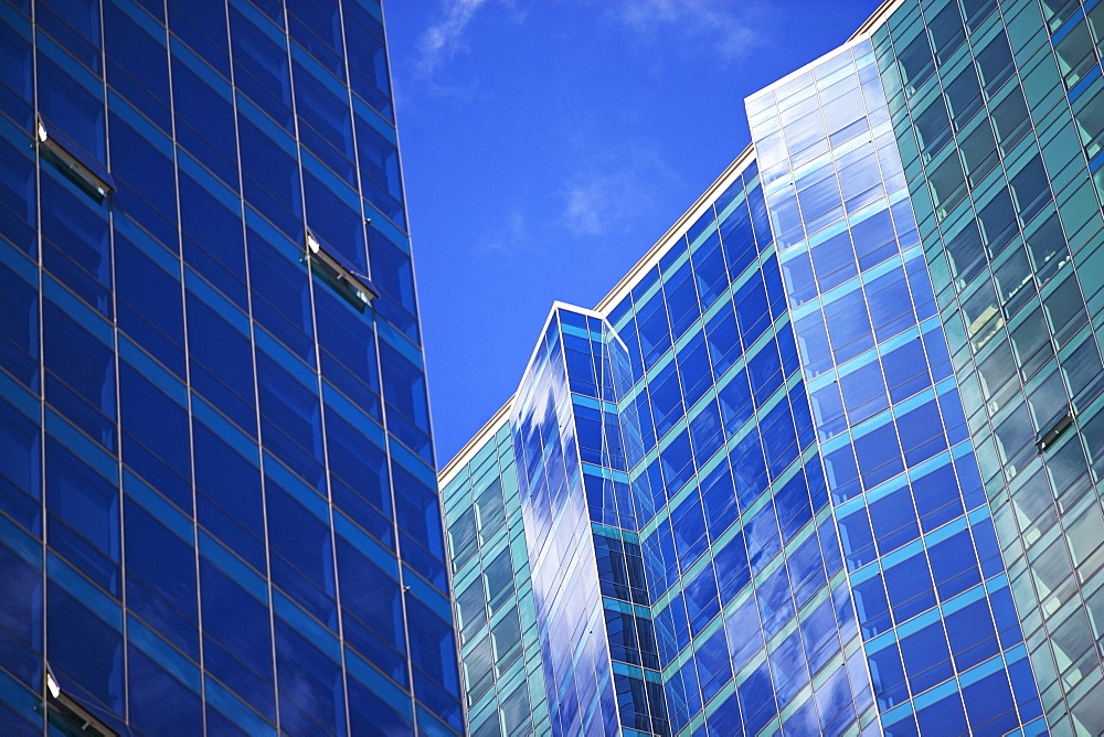 USA, New Jersey, Jersey City, Glass office buildings