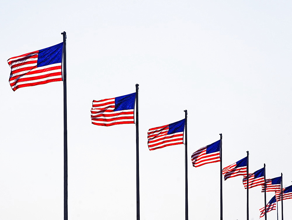 USA, Pennsylvania, Philadelphia, American flags against sky