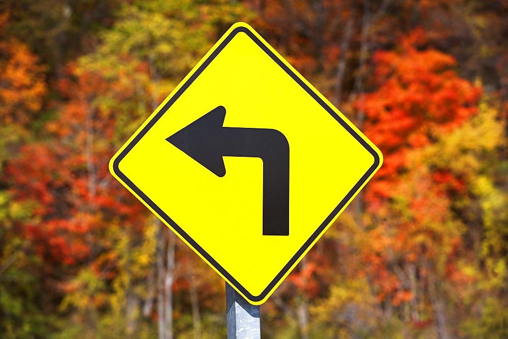 USA, New York, Croton, yellow road sign