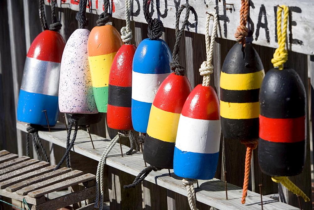 USA, New York, Peconic, colorful buoys