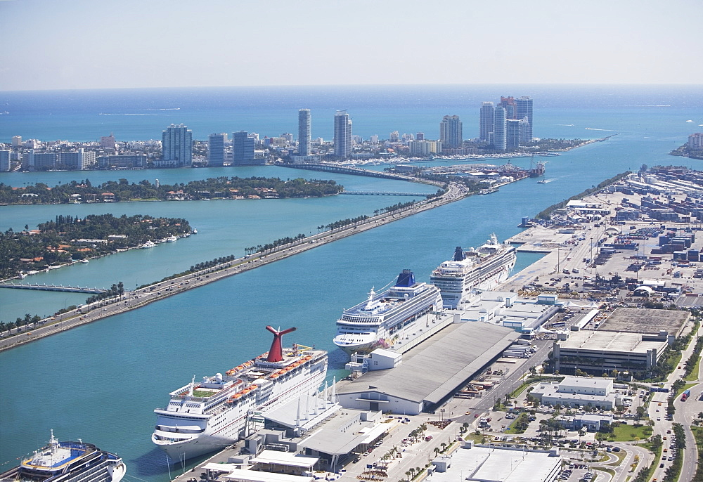 USA, Florida, Miami harbor as seen from air