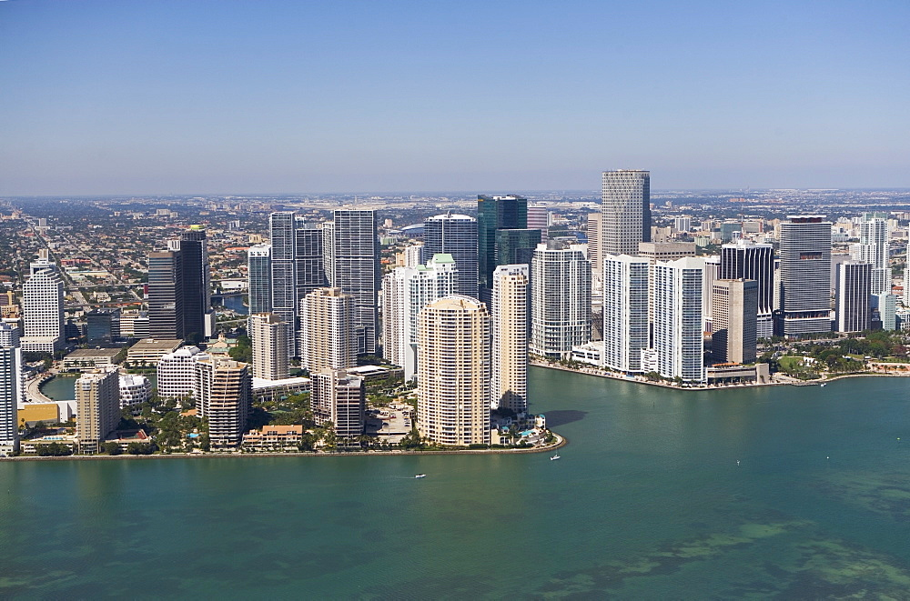 USA, Florida, Miami skyline as seen from air
