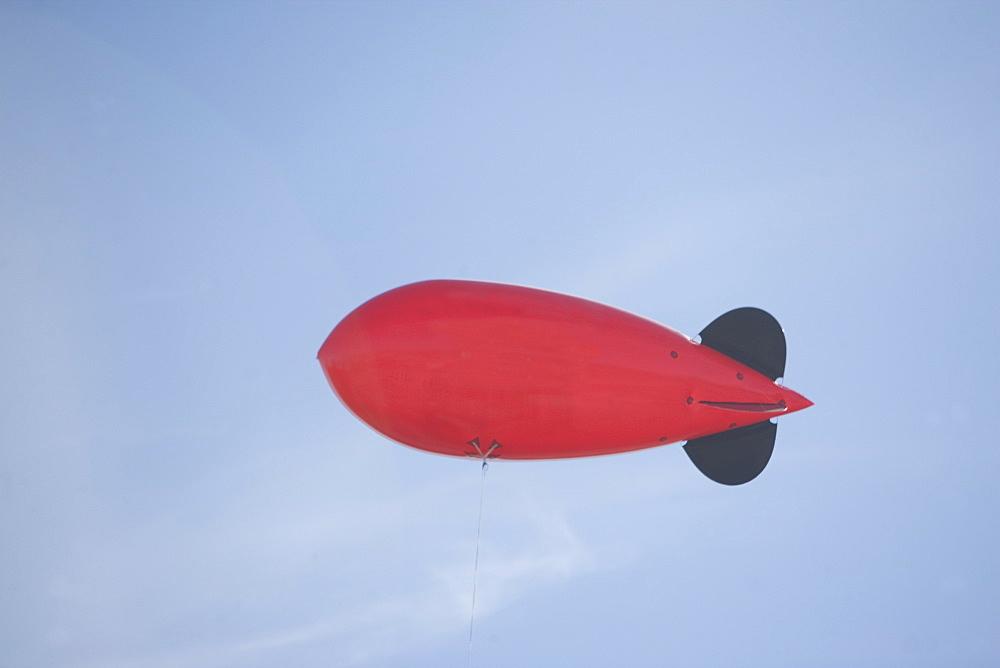 Flying advertising blimp