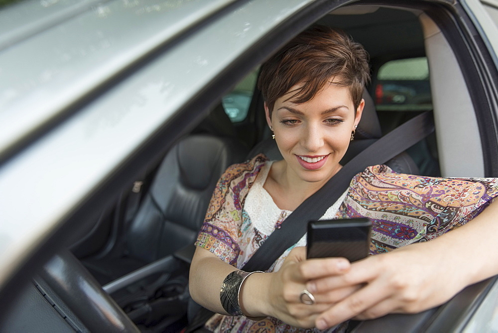 Female driver text messaging