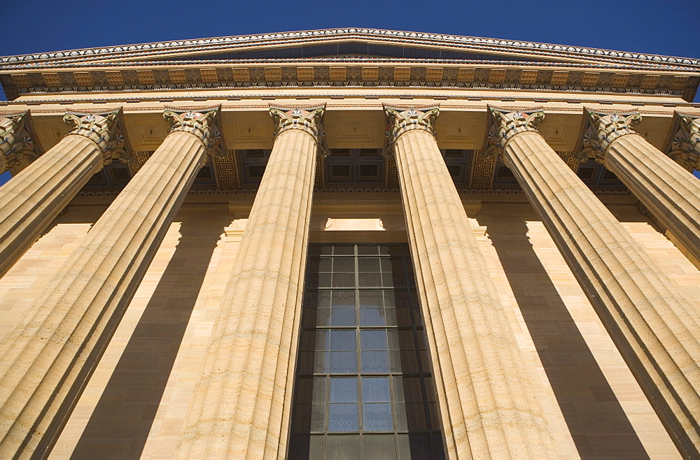 USA, Pennsylvania, Philadelphia, low angle view of Philadelphia Museum Of Art facade