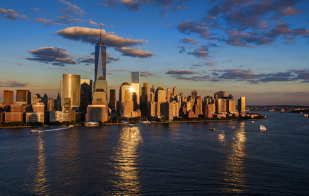 Aerial view of city with Freedom tower at sunset, New York City, New York - 1178-2106