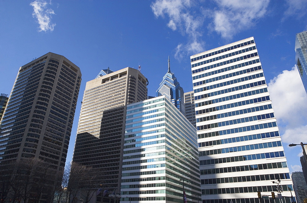 USA, Pennsylvania, Philadelphia, low angle view of skyscrapers