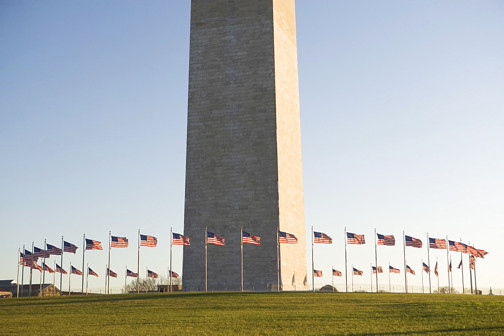 USA, Washington DC, washington monument surrounded by flags