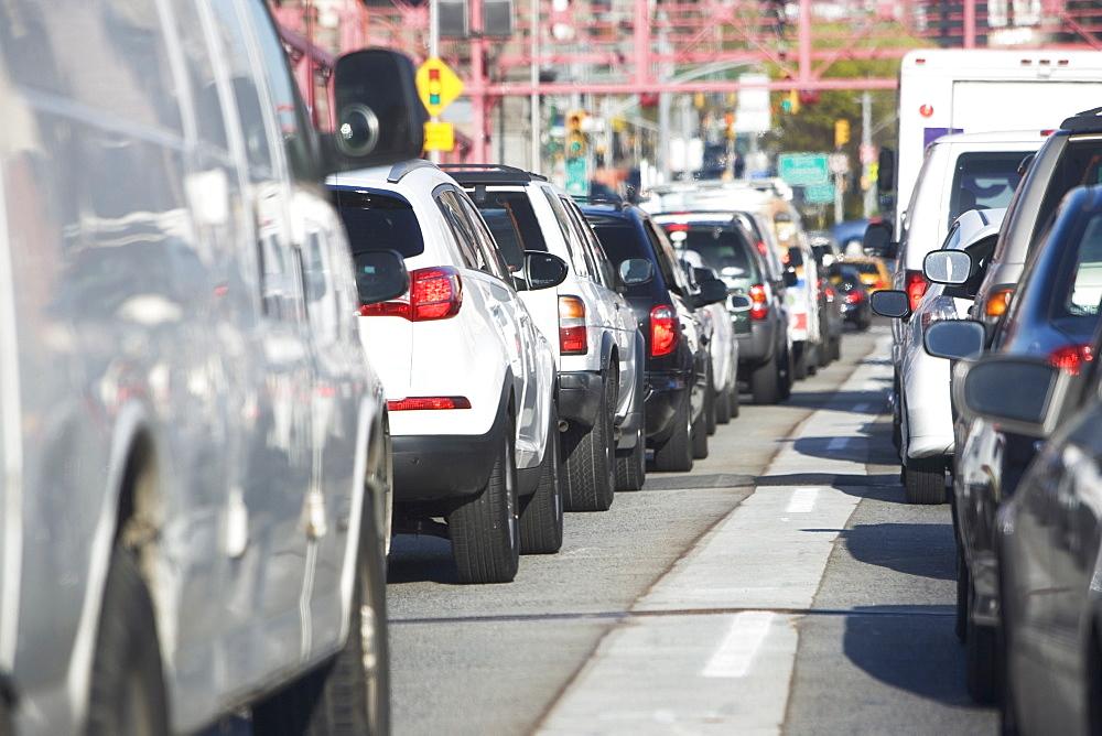 USA, New York, Long Island, New York City, Cars in traffic jam, USA, New York, Long Island, New York City