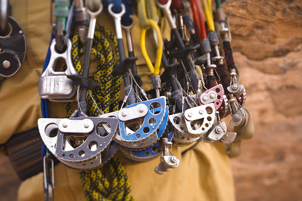 Close up of rock climbing gear