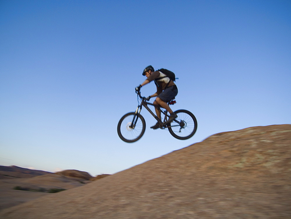Man riding mountain bike