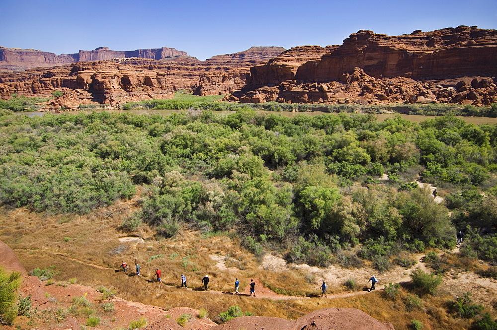 People hiking in canyon, Canyonlands National Park, Moab, Utah, United States