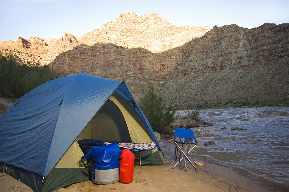 Campsite next to river, Colorado River, Moab, Utah, United States