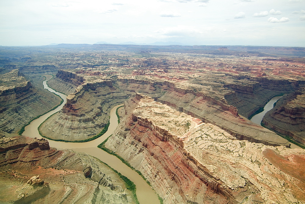 Aerial view of rivers in canyon, Colorado River, Green River, Canyonlands National Park, Moab, Utah, United States