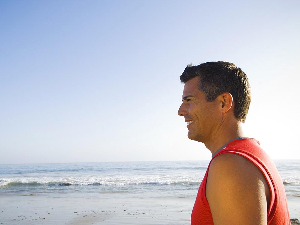Profile of man at beach