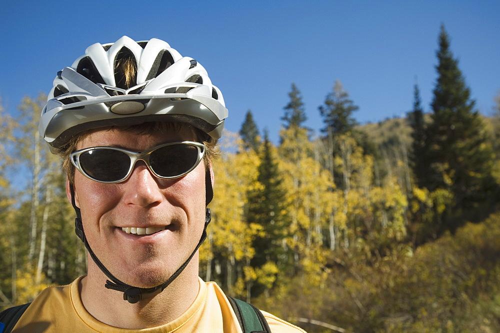 Man wearing bicycle helmet, Utah, United States