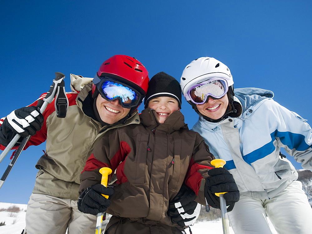 Family wearing ski gear