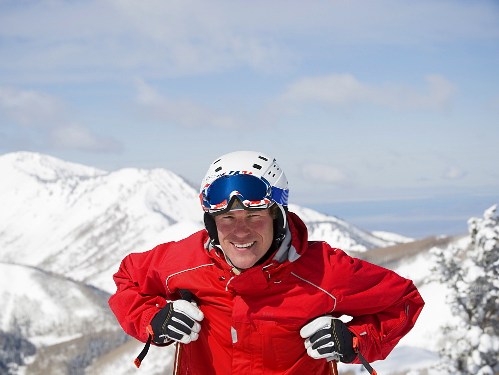 Man wearing ski gear