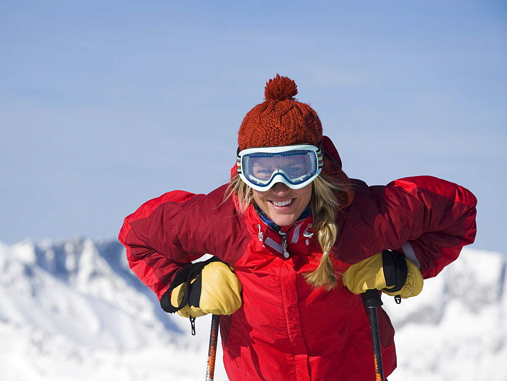 Woman wearing ski gear