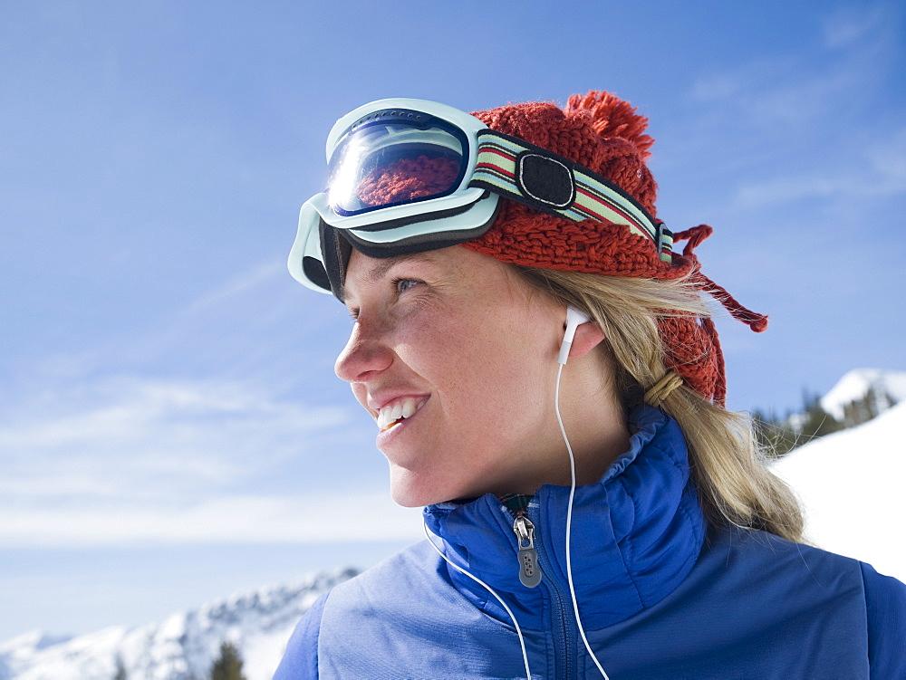 Woman wearing ski gear