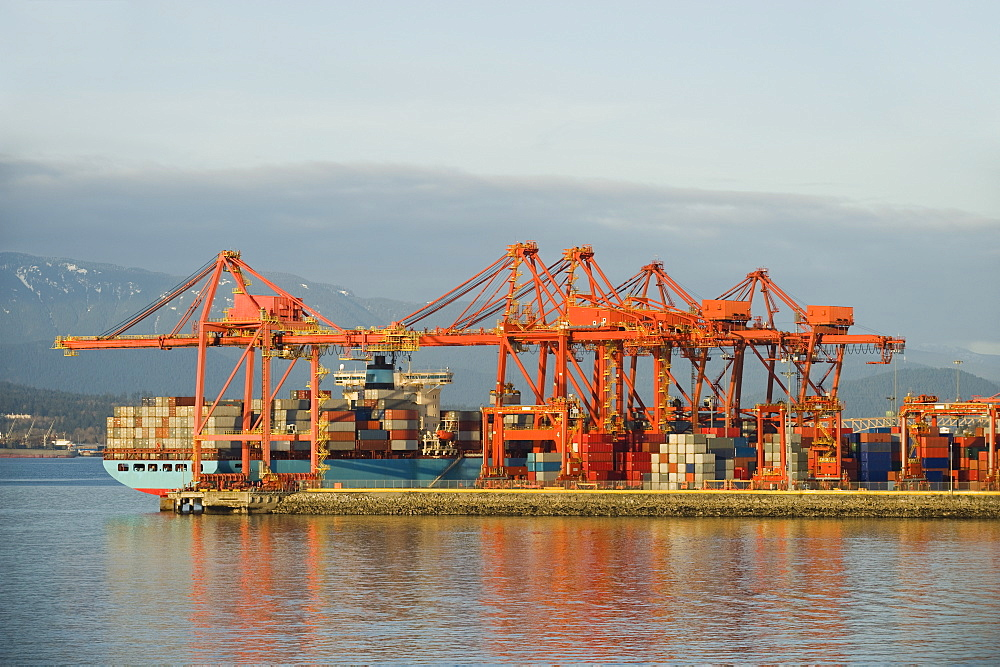 Cargo ship at dock, Vancouver, British Columbia, Canada