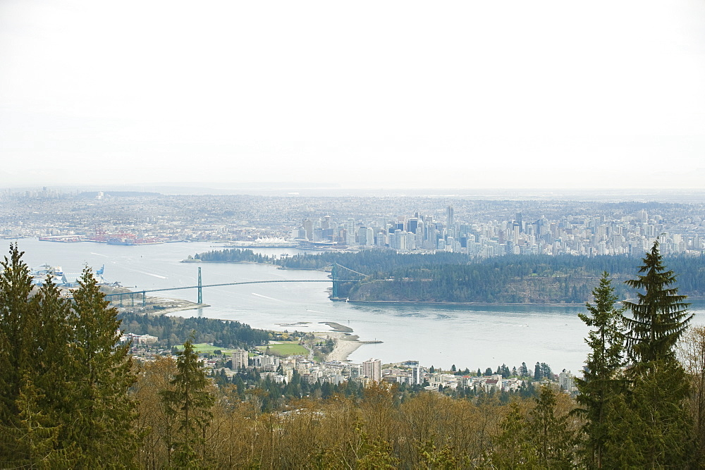 City along river, Vancouver, British Columbia, Canada