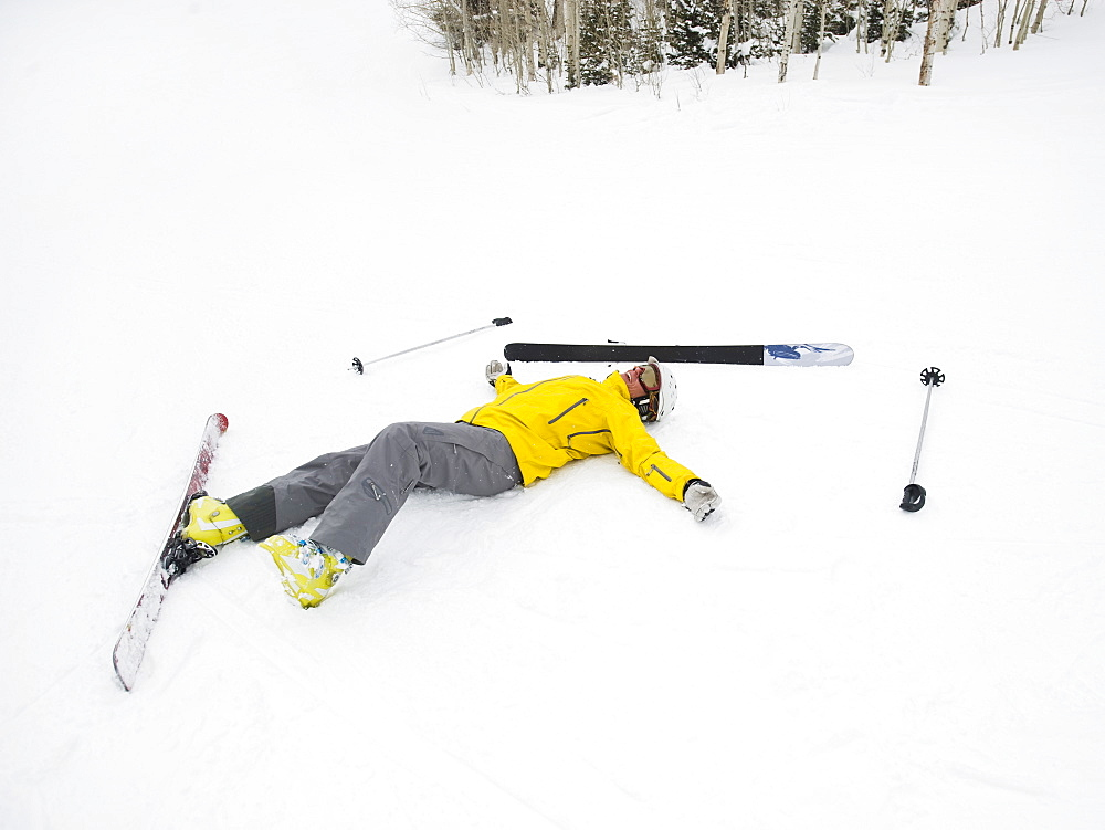 A downhill skier who fell