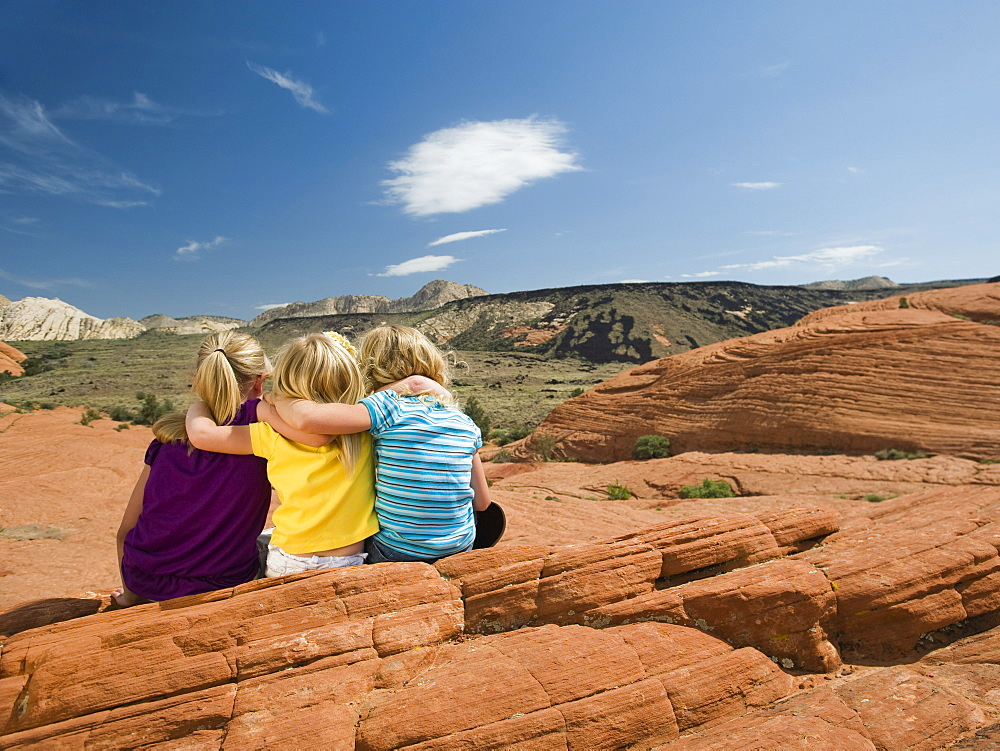 A mother and two kids at Red Rock