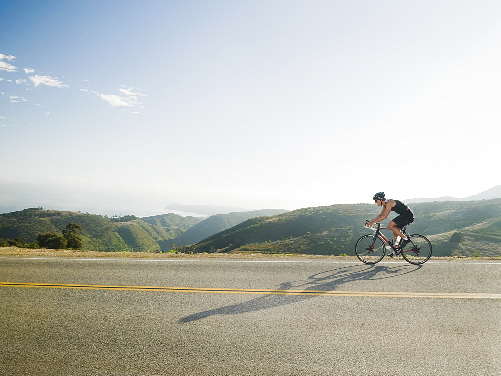 Cyclist road riding in Malibu