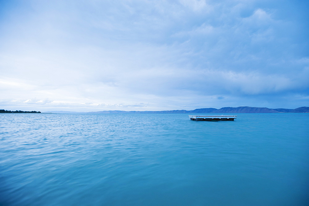 Raft floating on water