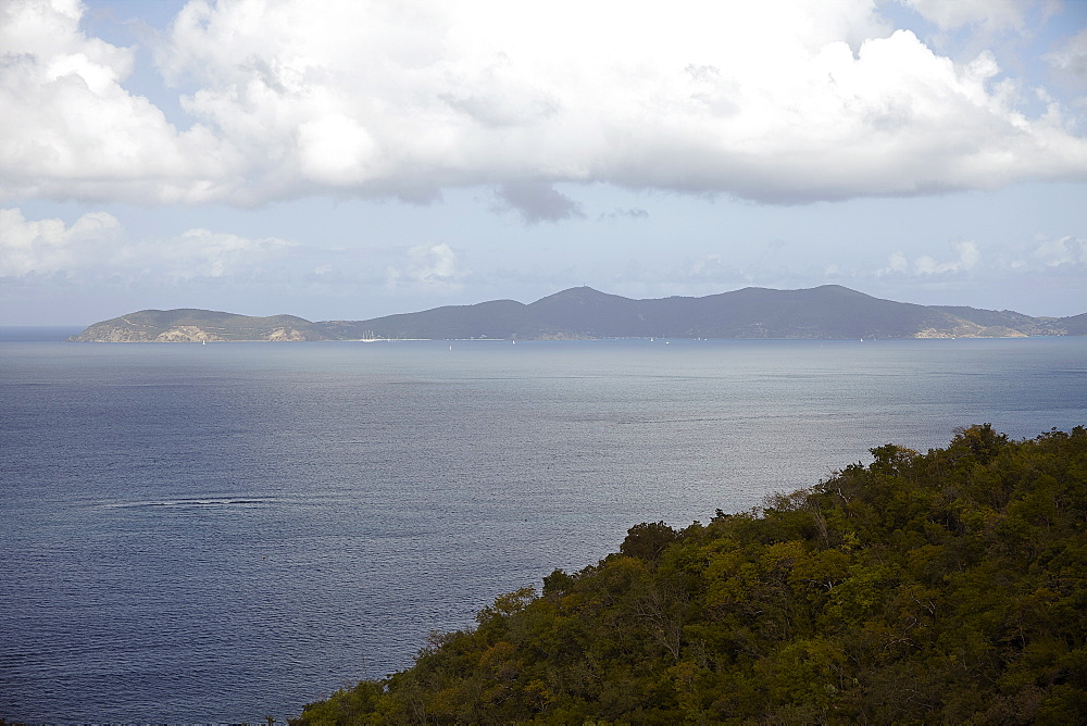 Scenic view with sea and mountains, St. John, USVI