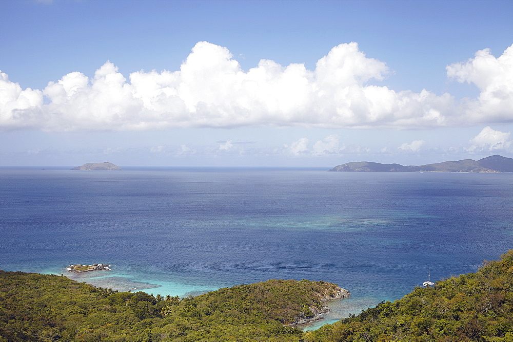 Scenic view with sea and island, St. John, USVI