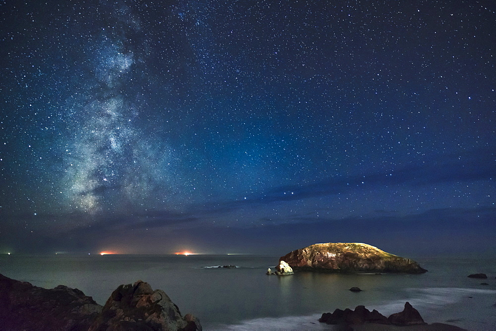 View of Milky Way on night sky over beach, Oregon, USA