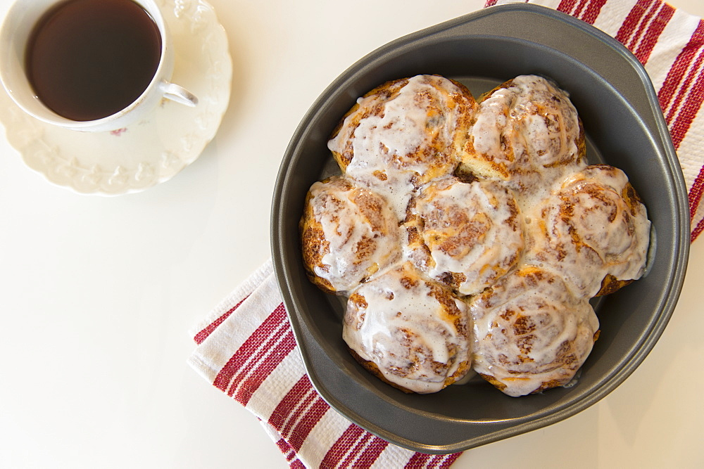 Studio Shot of cinnamon rolls and coffee