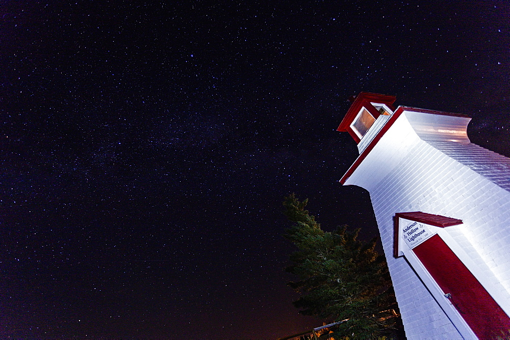 Low-angle view of white lighthouse, New Brunswick, Canada