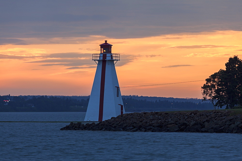Lighthouse at sunset, Prince Edward Island, New Brunswick, Canada