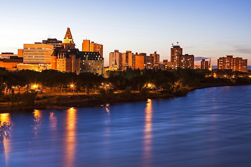 Illuminated cityscape at dusk, Canada