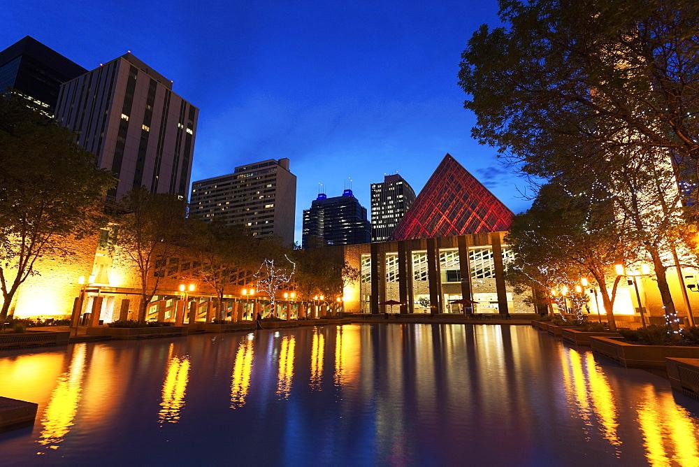 Edmonton City Hall by pond at dusk, Alberta, Canada