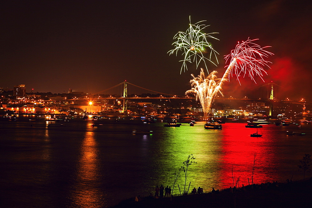 Fireworks over river, Nova Scotia, Canada