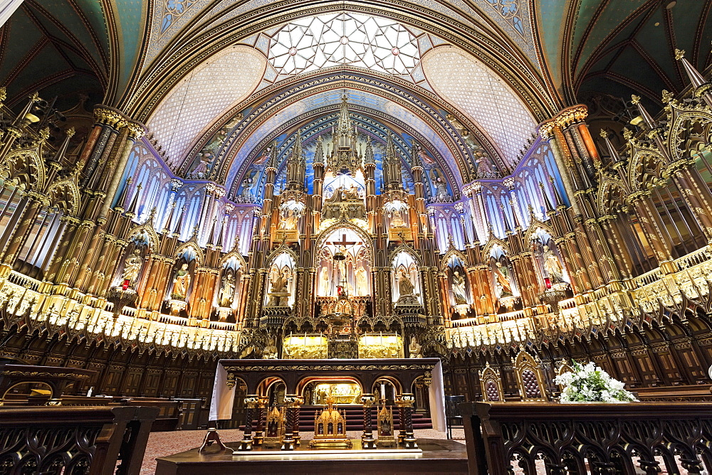 Interior view of Notre-Dame Basilica, close-up on altar, Quebec, Canada