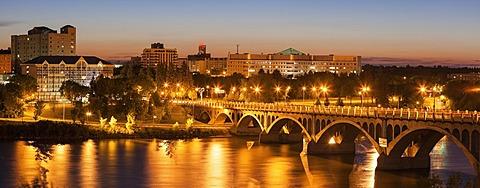 University Bridge on South Saskatchewan River at dusk, Canada