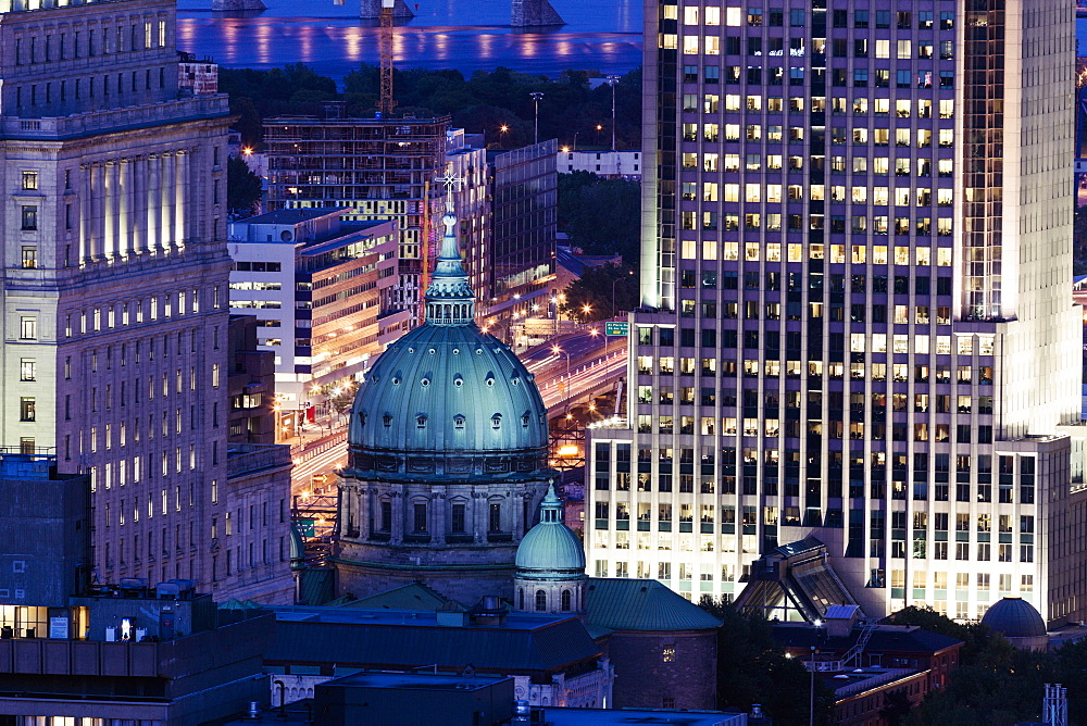 Illuminated city architecture, Quebec, Canada