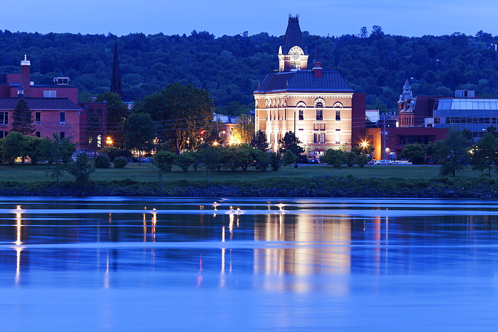 City hall by Saint John River at dusk, New Brunswick, Canada