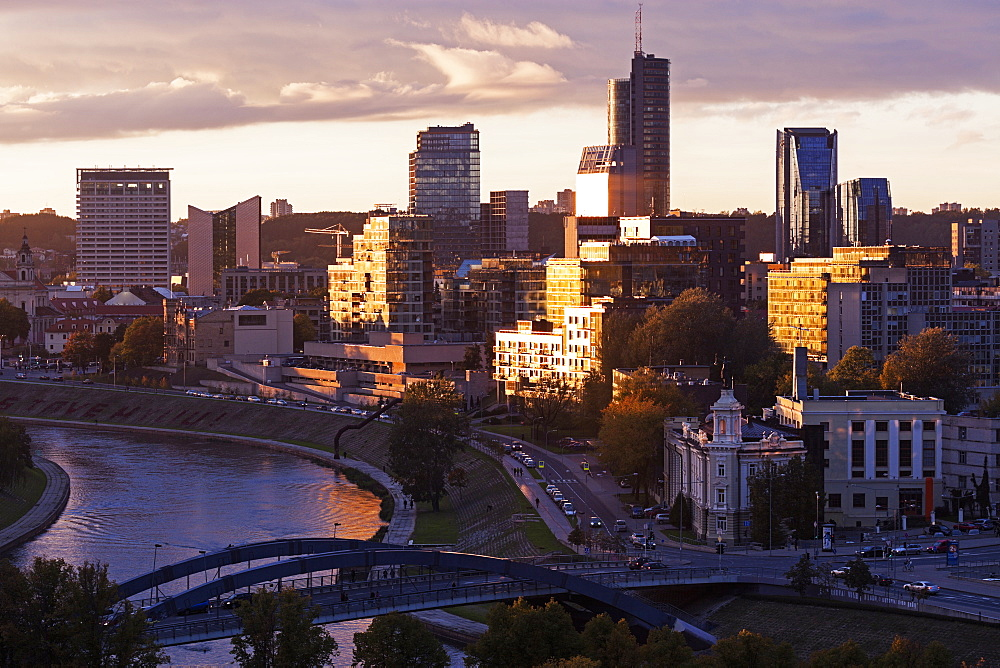 Riverside cityscape with skyscrapers, Lithuania
